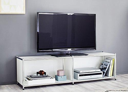Modernes Lowboard - Fernsehtisch   aus Metall   pulverbeschichtet   weiß   150 cm Breit   TV-Bank - Fernsehschrank - TV-Möbel -