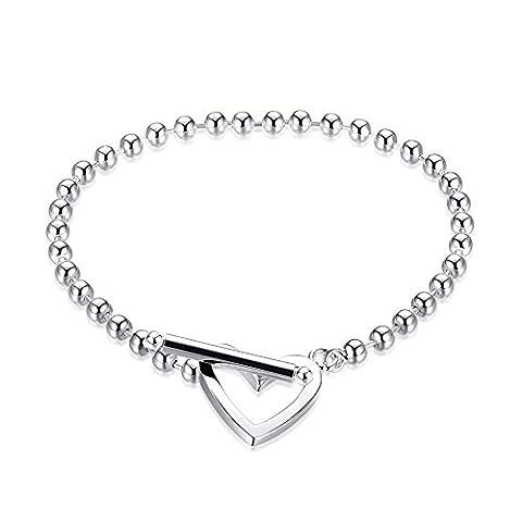 BODYA Womens thin beads ball chain Link Bracelet love heart