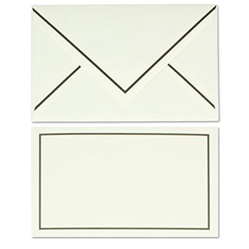 50 Stück gefütterte Trauerumschläge aus echtem Büttenpapier, naturweiß gehämmerte Oberfläche mit schwarzem Trauer-Rand, 11,8 x 18,2 cm (Gefüttert Tote Geprägte)