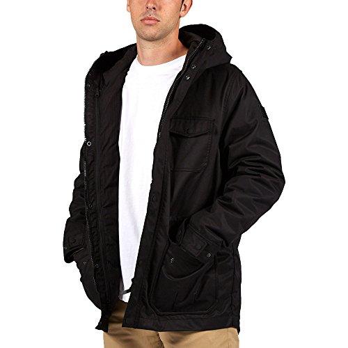 Element Herren Jacke Lenox, hochwertiger Leinenparka mit Wachs beschichtet,wasserabweisende und atmungsaktive Winterjacke, herausnehmbare Innenjacke Black