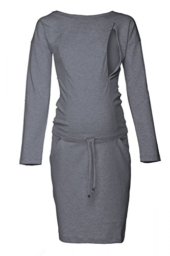 Happy Mama. Damen 2in1 Umstands Still Sweatshirt-Kleid Lange Ärmel Taschen. 709p (Graphit Melange, EU 38, S)