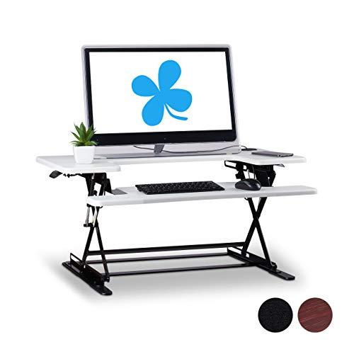 Schreibtischaufsatz, professionelle Sit Stand Workstation, höhenverstellbar, Tastatur-Ablage, weiß ()
