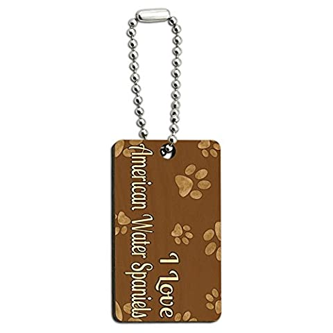I Love American Water Spaniels Brown with Paw Prints Wood Wooden Rectangle Key Chain