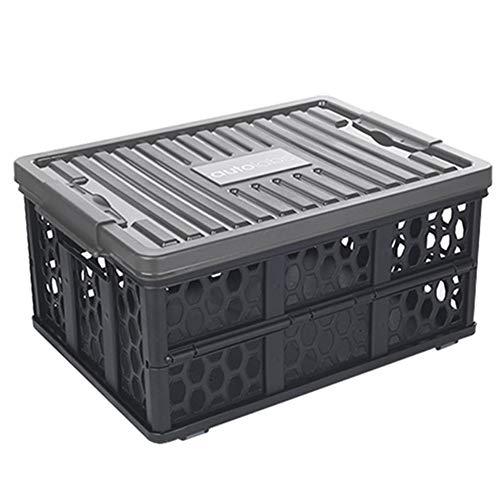 Kofferraum Organizer Cube (ZHANGQIANG-Auto Kofferraum Organizer Faltbare Aufbewahrungsboxen Mit Deckeln Fabric Storage Cube Mit Etikettenhalter Lagerung (Farbe : Schwarz, größe : 49 * 35 * 23.5cm))