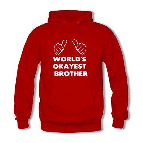 HGLee Printed Personalized Custom Worlds Okayest Brother Womens Sweatshirts Hooded Hoodies Red--3