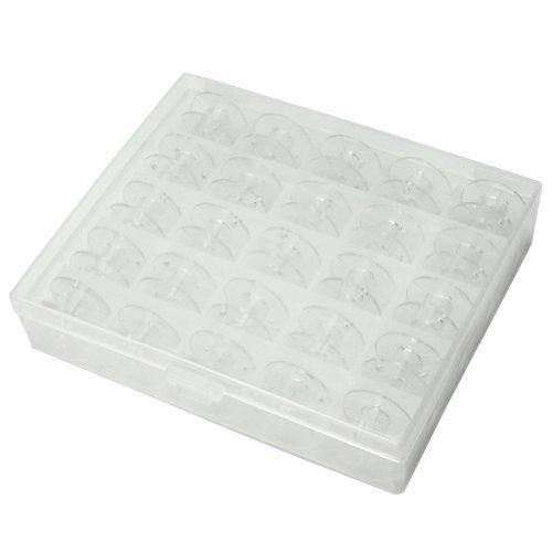 AllBeauty Spulen aus Kunststoff für Nähmaschine, transparent, ohne Garn, mit Aufbewahrungsbox, 25 Stück