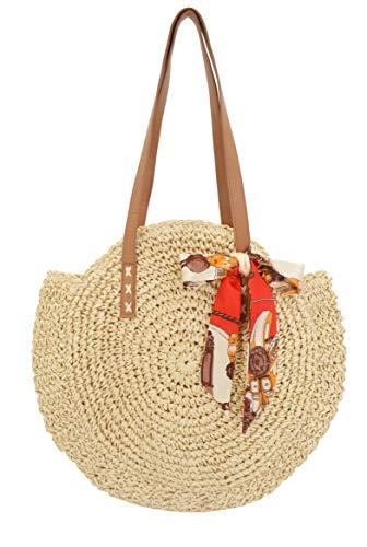 ELFJOY Damen Stroh-Strandtasche rund groß gewebte Handtasche Sommer Schultertasche Tote mit Schal für Reisen, Beige (beige), Large -