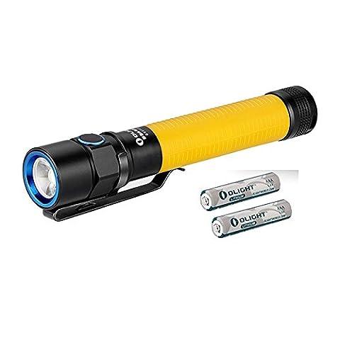 Olight® S2A BATON Lampe de Poche AA LED Cree XM-L2 550 Lumens - 5 Niveaux de Luminosité et Strobe - Batterie Lithium-Iron Piles AA Comprise - Jaune (Avec lumière fluorescente dans le