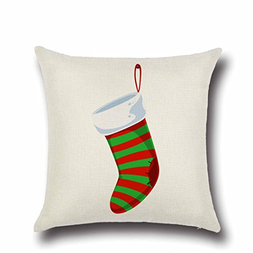 lebige umweltfreundliche Frohe Weihnachten Leinen Wurf Kissenbezug Kissenbezug Startseite Sofa Dekor Neu für Haus, Schlafzimmer, Zimmer, Büro, Kaffeehaus (Mehrfarbig A / B / C / D / E / F / G / H / I / J / K / L) (F) (König Und Königin Dekor)