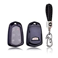 XITER Keyless Entry Remote Cover Soft TPU Key Fob Case+Key Chain Ring For Cadillac Escalade 2015-2019, CTS, SRX, XT5, ATS, STS, and CT6 (BLACK)