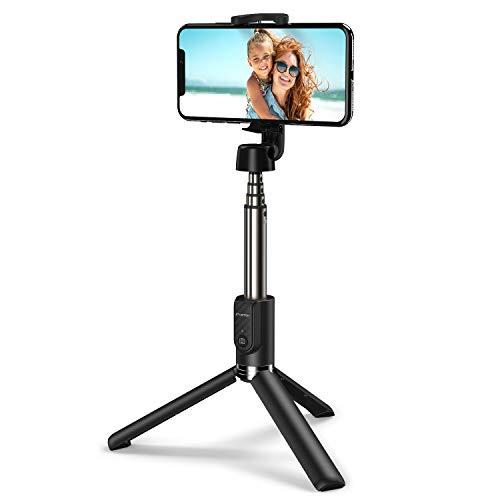 ATUMTEK Bastone Selfie Bluetooth con Treppiede, Mini Selfie Stick Allungabile con Telecomando Wireless Bluetooth per iPhone XS Max/XR/XS/X, iPhone 8/8 Plus, Samsung Galaxy S10/S9, Huawei e Altri