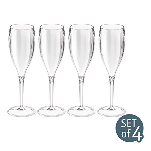 Koziol Cheers 4er Set Sektglas Kunststoff, Glas, Silber, 6 x 6 x 20 cm