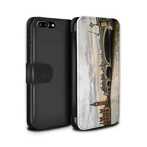 Stuff4 Coque/Etui/Housse Cuir PU Case/Cover pour Apple iPhone 7 Plus / Big Ben Design / Sites Londres Collection Pont Westminster