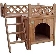 Casa para perro o gatos Nobleza, estructura de madera a dos alturas, alto 66cm