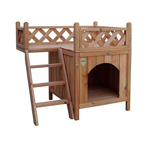 Casa para perro o gatos Nobleza, estructura de madera a dos alturas, alto 66cm. Envío gratis.