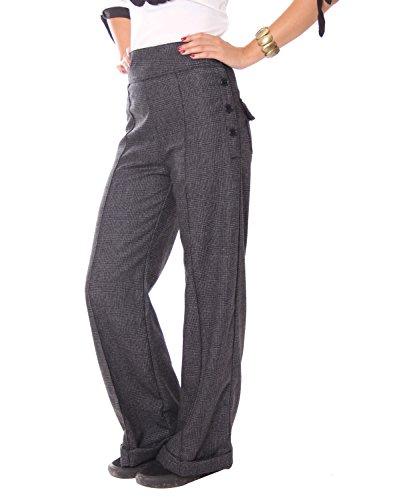 SugarShock Inessa Karo Glencheck High Waist 40s retro Marlene Tweed Hose , Größe:M, Farbe:grau (Tweed Hose Bein)