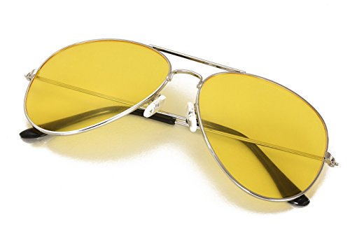 4sold Kinder Pilotenbrille mit Edelstahl Metall Gestell Sonnenbrille Unisex (Gelb Transparent)