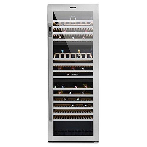 Klarstein Botella Trium • Weinkühlschrank mit Glastür • Gastro-Kühlschrank • 3 Kühlzonen • 617 Liter • 268 Flaschen • 14 herausnehmbare Ablagen • Tastenfeld • Licht-Taste • Edelstahl • schwarz-silber
