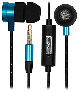 Premium 3.5mm In Ear Bud Handsfree Headset Earphones Compatible For Lenovo Vibe K4 Note-Black with CYAN