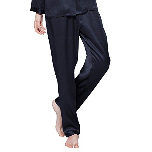 LILYSILK Ensembles de Pyjama 3 pièces pour Femme, 100% Soie de Mûrier Naturelle Longues Fibres 22 Momme Rafraîchissante, Confortable, Hypoallergénique, Certificat OEKO-TEX Standard 100 Bleu Marine