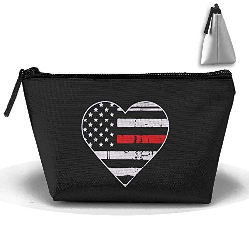 Thin Red Line Heart Firefighter Trapezoid Travel Storage Pouch Oxford Cloth Makeup Bag Portable Handy Kit Packing Organizer 10