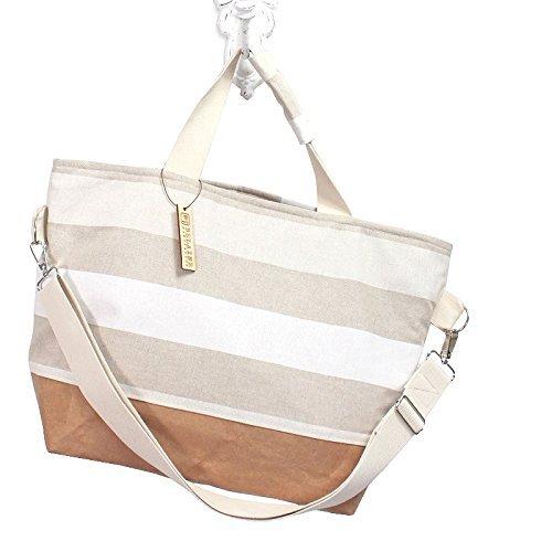große braune Tasche mit weißen Streifen aus Baumwolle (Weiß-streifen Tote)