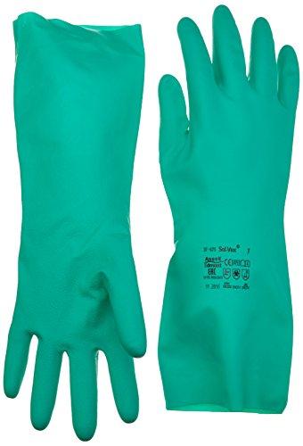 Ansell Solvex 37-675 Guanto in Nitrile, Protezione Contro le Sostanze Chimiche e Liquide, Verde, Taglia 7 (Sacchetto di 12 Paia)