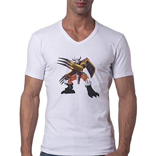 Digimon Agumon Greymon Wargreymon Wargreymon Standing Prepared To Fight Herren V-Neck T-Shirt Weiß