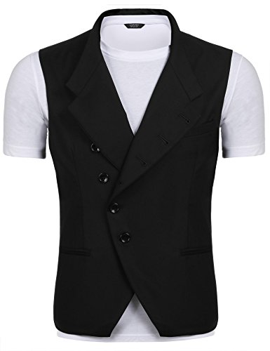 Coofandy Men's Casual Single-Breasted Slim Fit Button Pockets Suit Vest