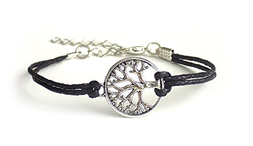 Schmuck Armband Yggdrasil Lebensbaum aus Stahl in gold oder silber, Band in Lederoptik, 21,5 cm, Damen Symbolschmuck Weltenbaum, Farbe:Silber