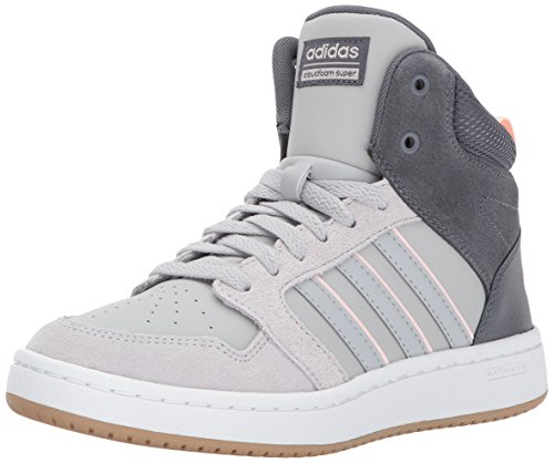 adidas Neo Women's CF Superhoops Mid W Basketball-Shoes, White/White/Matte Silver, 8 M US