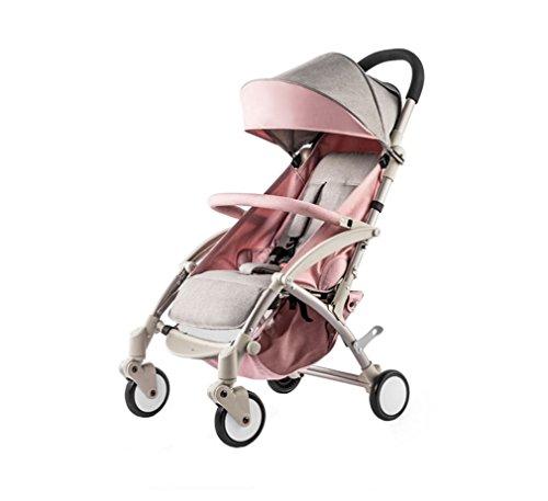 Tragbare Baby Trolley Tragbare Falten Regenschirm Auto Können Sitzen können hinlegen Vierrädrige Kinderwagen aluminiumlegierung rahmen (Rosa)
