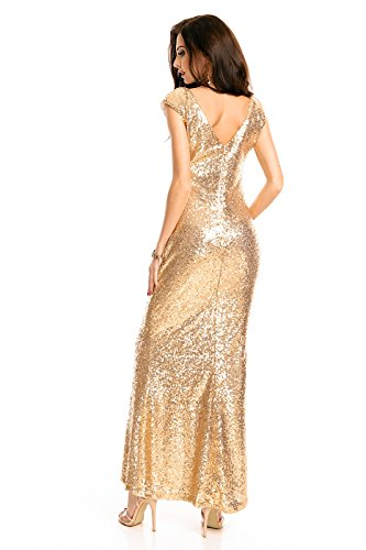Mayaadi langes Paillettenkleid für Partys Cocktailabende und festliche Anlässe WJ-7259 Gold S - 4