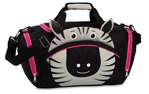 Fabrizio Kindertasche Sporttasche Reisetasche Zebra, Jungen Mädchen Kinder, schwarz, 39 x 25 x 20 cm