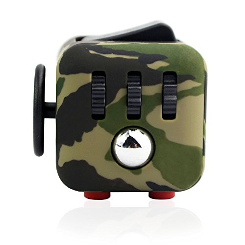 Caroki Fidget Cube Relieves Stress And Anxiety for Children and Adults Anxiety Attention Toy (Camouflage Green) -