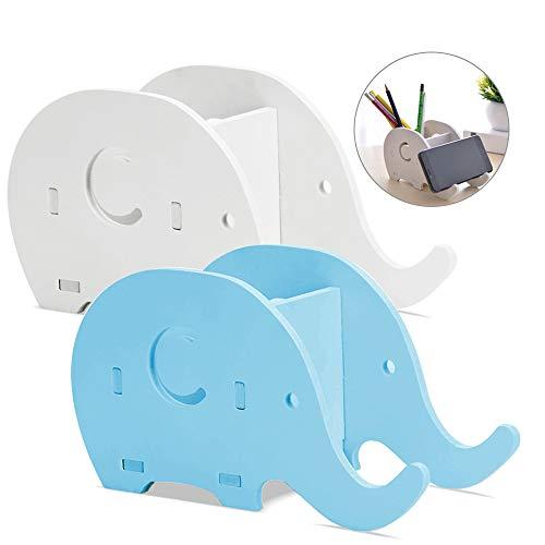 FineGood Organizador Multifuncional para Lápices de Escritorio con Forma de Elefante, de Madera, con Soporte para teléfono Móvil, para Oficina, Adultos, Niños, Color Azul, Blanco