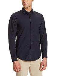 Peter England Mens Casual Shirt (8907609441338_ESF31702925_Medium_Black with White )