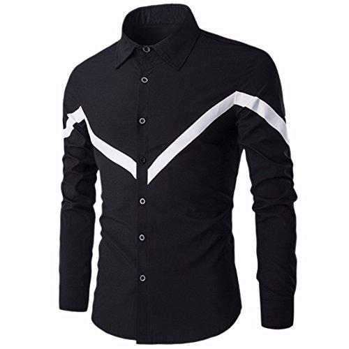 QIYUN.Z Les Hommes À Long Bouton Manches Mincir Ajustement Robe Chemise De Chemise Ordinaire Occasionnel Noir-73