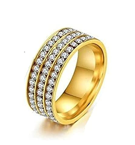 SanJiu Jewelry Unisex Ring Round 8MM Stainless Steel Rings with Three Rows CZ Cubic Zirconia Wedding Promise Anniversary Engagement Charm Rings for Women and Men Gold Size N 1/2
