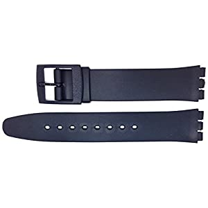 New 16mm (19mm) Sized Resin Strap Compatible for Swatch® Watch – Black – RG14