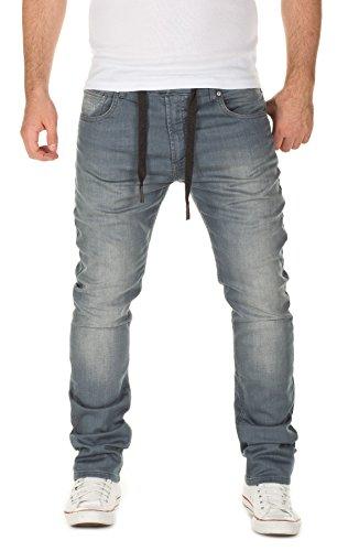 WOTEGA Herren Jeans - Sweathose in Jeansoptik Noah - slim, Grau (Turbulence Grey 3R4215), W28/L34 (Elastische Herren-pants)