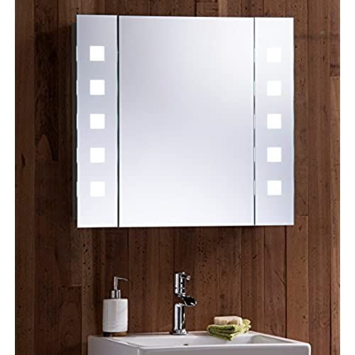 LED Illuminated Bathroom Mirror Cabinet With Wire Free Concealed Demister  Heat Pad, Shaver Socket And Sensor Switch With Lights Fully Certified To  British ...