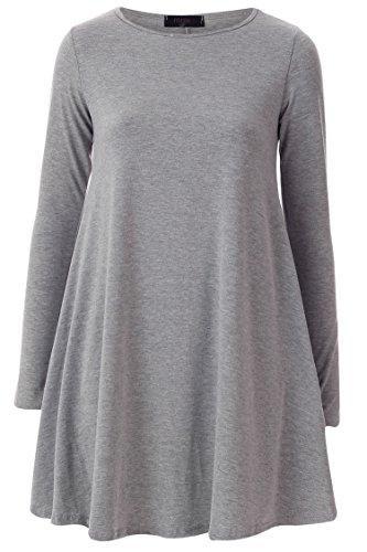 Fast Fashion - Swing Robe De Hanky Manches Longues, Plus La Taille Plaine - Femmes Gris