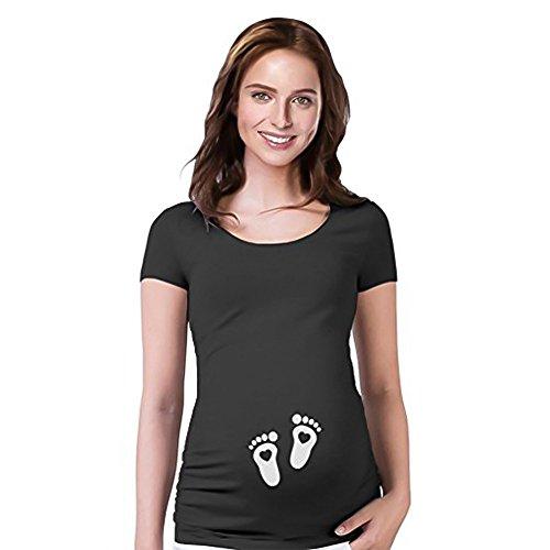 Hykis - Maternity Shirt Kurzarm O-Ansatz Seite Ruched komisches Wort Schwangerschaft Mom Spitzen T Schwarz L [schwarz XL] - Contemporary Pole