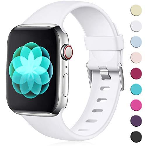 Maledan für Apple Watch Armband 38mm 40mm, Ersatzarmband aus Weiches Silikon Verstellbares Uhrenarmband mit Klassische Schnalle für Apple Watch Series 4/3/2/1 S/M Weiß Weiß Apple