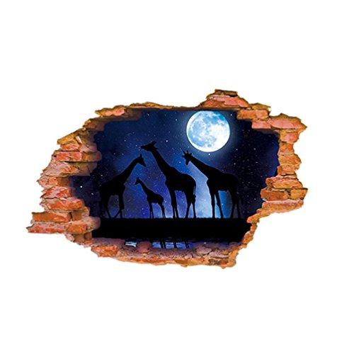 feiXIANG® 3D DIY famiglia Vinile Arte Stickers Murali Arredamento casa Decorazioni a parete cameretta Adesivi e murali da parete Carta da parati Decorazione Murale (F)