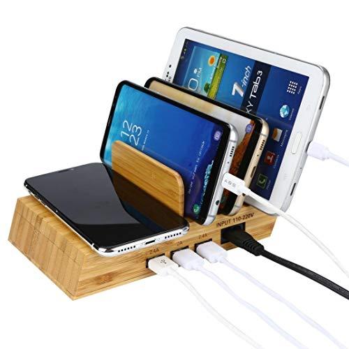 Jintime Multifunktions Holz Design 3 Port und Wireless Ladestation Desktop, Tisch Veranstalter Telefon Ständer Halter, 2.4A Multi Port USB Lade für iPhoneX / 8 / Samsung S6 / S6 Edge - Holz Telefon Tisch