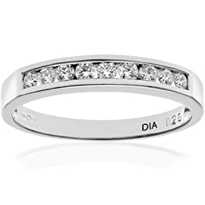 Naava Women's Platinum Channel Set Half Eternity Ring, IJ/I Certified Diamonds, Round Brilliant, 0.25ct