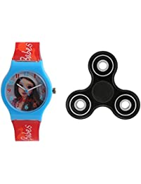 Fantasy World Light Blue Watch And Spinner Combo For Boys And Girls