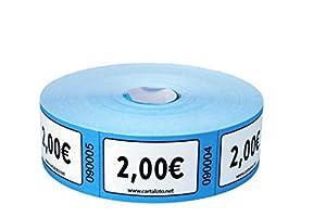 CARTALOTO - Rollo de 1000 Etiquetas Valor 2€ Azul BITR2002 Multicolor